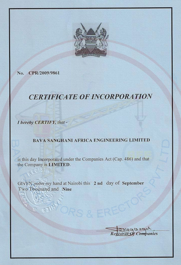 Certificate of Incorporation New York